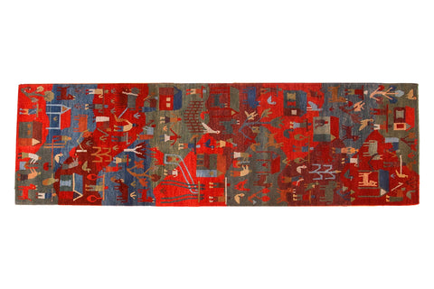 New hand knotted Tibetan folk art rug runner