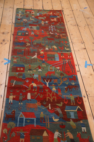 New hand knotted 2x7 tibetan pictorial rug runner