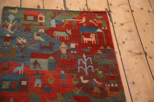 Hand knotted woven in new wool pictorial rug runner from Tibet