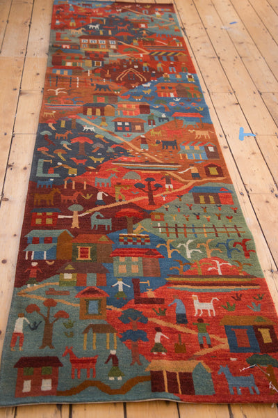 3'x9.5' new hand knotted plush wool pictorial folk art rug runner