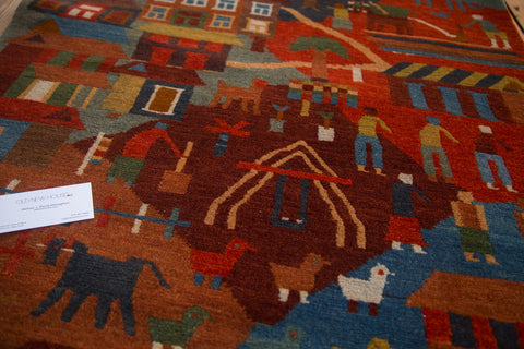 Hand knotted pictorial tibetan folk art rug runner 3 feet by 9 and a half feet
