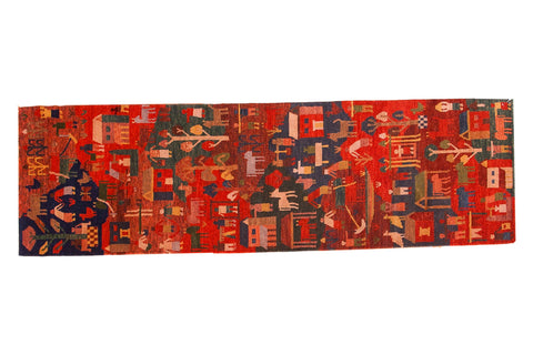 New hand knotted tibetan pictorial folk art rug runner
