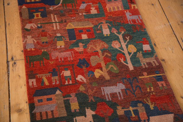 Plush wool and cotton handmade Tibetan pictorial folk art rug 2'x7'