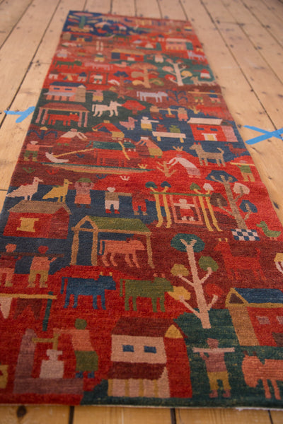 New plush wool tibetan pictorial folk art rug runner 2x7
