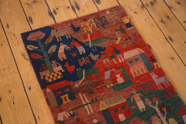 Newly made hand knotted plush wool and cotton Tibetan pictorial folk art rug runner