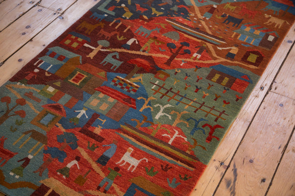 New handmade in Tibet pictorial folk art cattle farming countryside rug runner 2x7