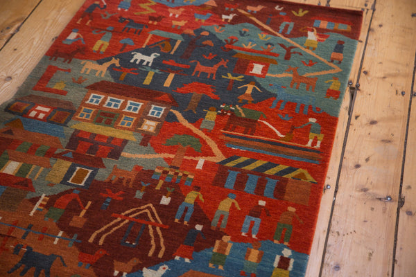 Colorful and plush new handmade Tibetan pictorial country side folk art rug runner 2'x7'