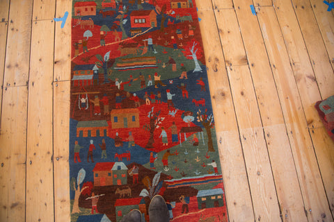 Handmade in Tibet pictorial countryside cattle farm folk art rug runner