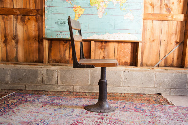 Antique School Chair Wood Iron