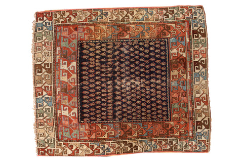 4.5x5 Antique Hamadan Square Rug