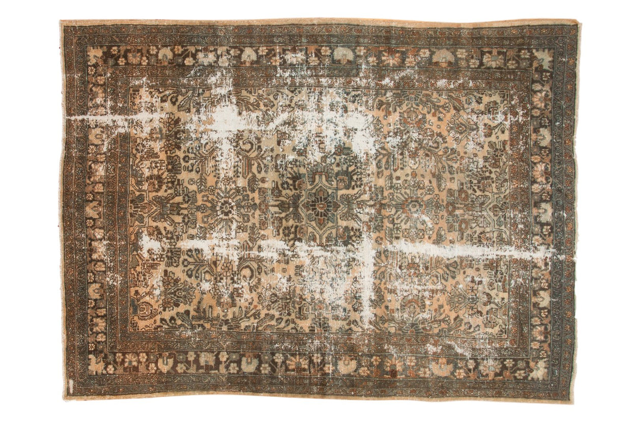 7x9.5 Vintage Distressed Hamadan Carpet // ONH Item sm001341