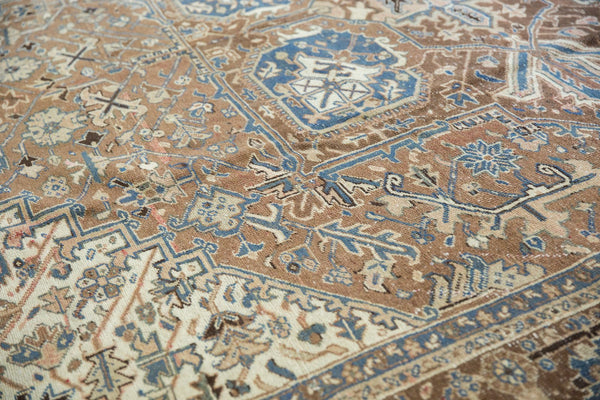 Vintage Distressed Fragmented Heriz Carpet