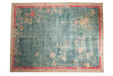 Vintage Distressed Art Deco Carpet