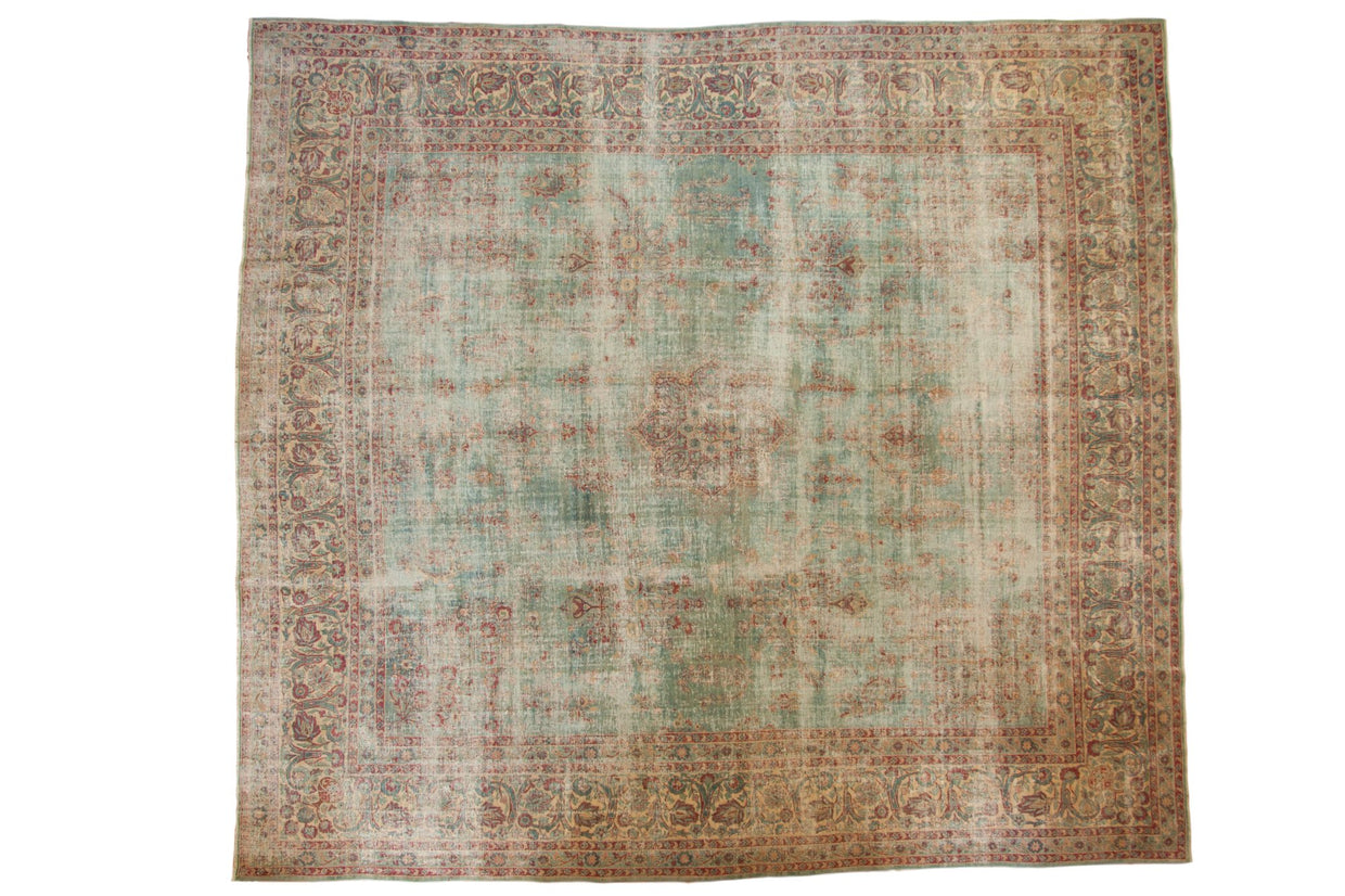 10.5x12 Vintage Distressed Kerman Square Carpet // ONH Item sm001515