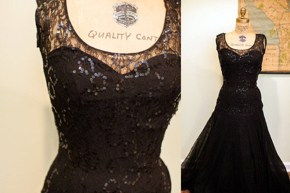 Vintage 50s Sequin and Lace Evening Gown - Old New House