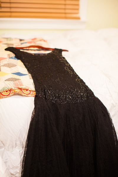 Vintage 50s Sequin and Lace Evening Gown