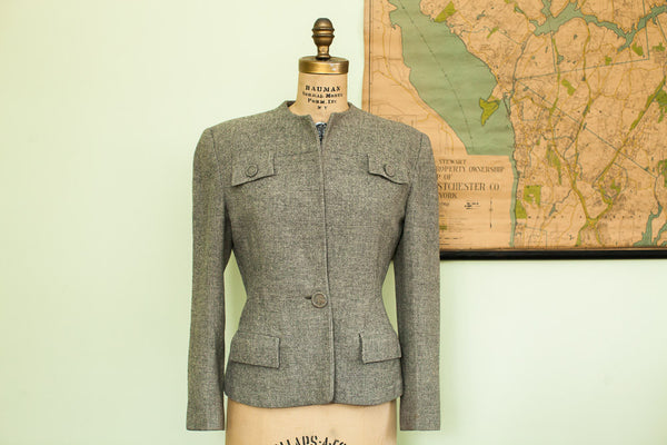 Vintage 40s Gray Wool Ladies Jacket Small / Medium