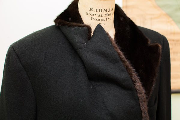 Vintage Dunhill Tailors Mens Coat With Fur Collar