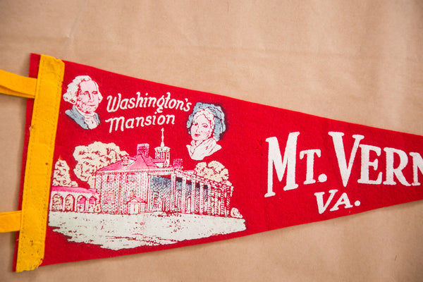 George Washington and Martha Washington Mansion Felt Flag Banner Pennant