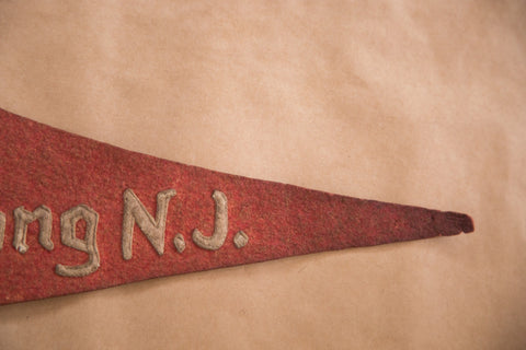 New Jersey Bertrand Island Lake Hopatcong NJ Vintage Red Souvenir Felt Flag Banner