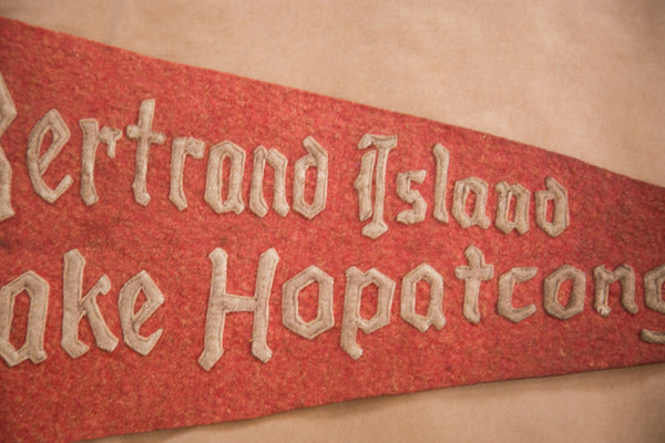 Vintage Red Felt Flag with Gothic Type Font