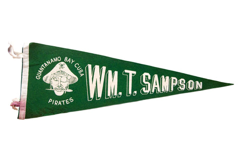 Vintage Cuban Green and White Felt Flag Pennant