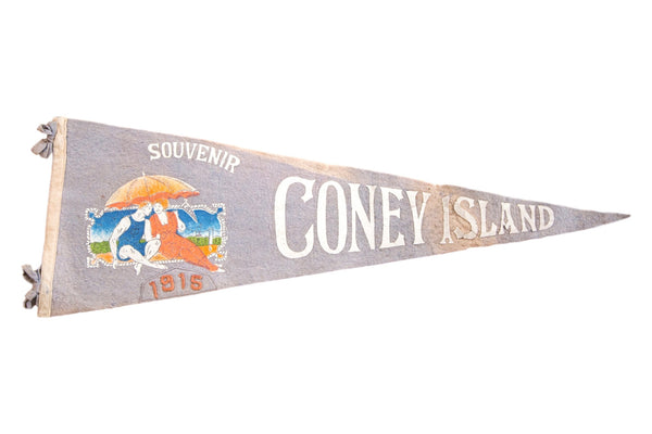 Antique Coney Island Felt Flag Pennant