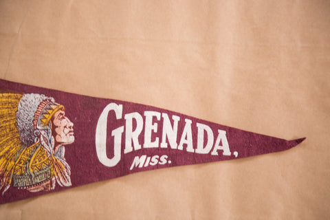 Native American in headdress on vintage grenada missippi felt flag banner pennant