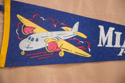 Vintage Miami Beach Florida Felt Flag