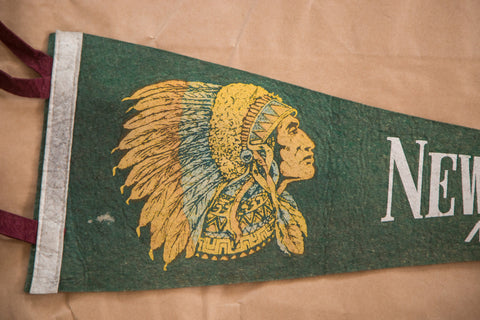 Native American Feathered Headdress green New Bern North Carolina felt flag banner