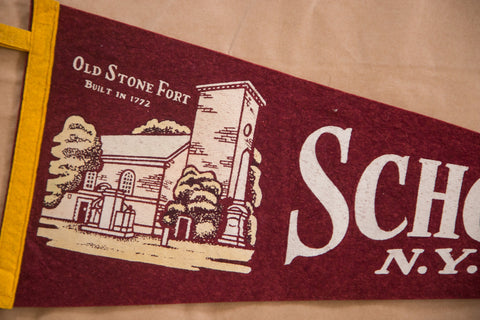Old Stone Fort built in 1772 Schoharie New York Felt Flag Pennant