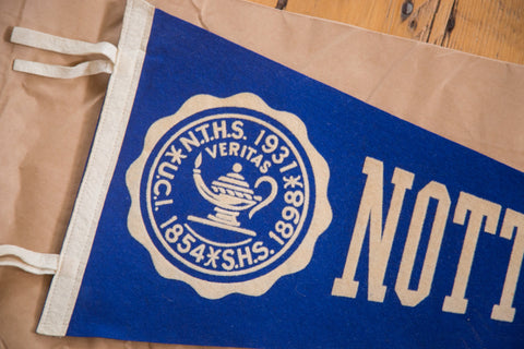 Veritas oil lamp 1854 1931 1989 blue nott terrace high school felt flag banner pennant
