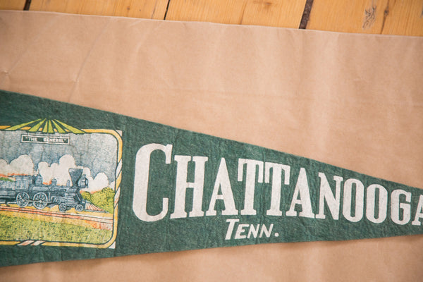 Chattanooga TN steam train green felt flag banner