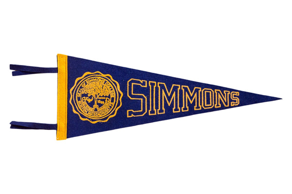 Simmons College Blue and Yellow Vintage Felt Flag