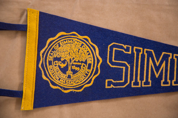 Seal of Simmons College Boston MA Vintage Felt Flag Banner Pennant