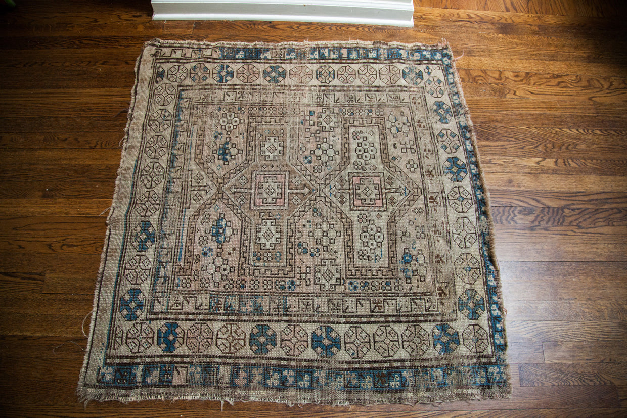 4x4 Muted Antique Kazak Tribal Rug - Old New House
