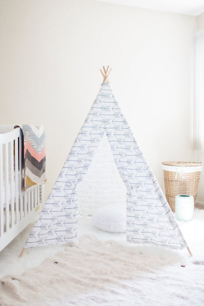 Kids White Modern Teepee Arrows - Old New House
