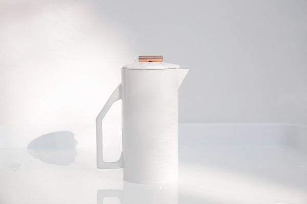 Modern White Copper Tip French Press 850 mL - Old New House
