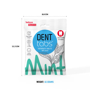 Denttabs toothpaste tablets – Mint flavor Plastic Free 125 pieces with fluoride