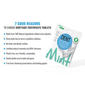Denttabs toothpaste tablets – Mint flavor Plastic Free 31 pieces without fluoride