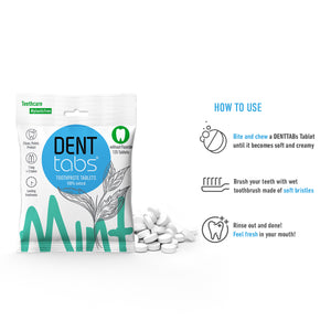 Denttabs toothpaste tablets – Mint flavor Plastic Free 125 pieces without fluoride