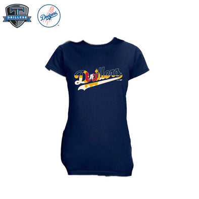 Drillers Script Tulsa Flag Tee Navy Ladies