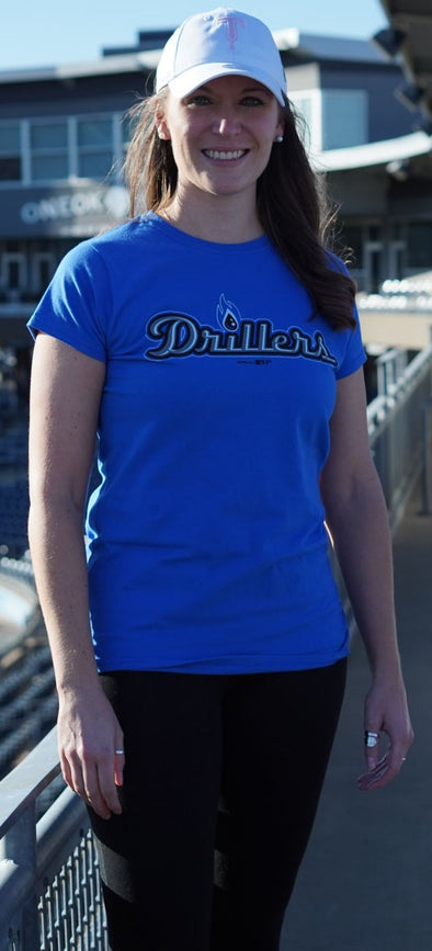 Tulsa Drillers Ladies Royal Logo Tee