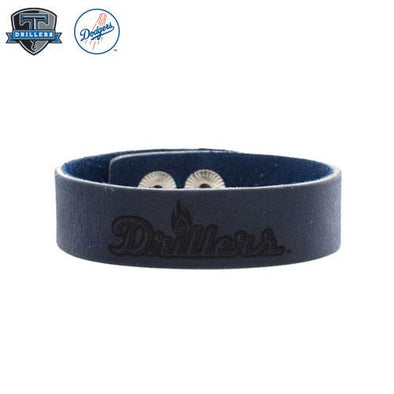 Tulsa Drillers Rustic Cuff Blue Leather Snap Cuff Drillers