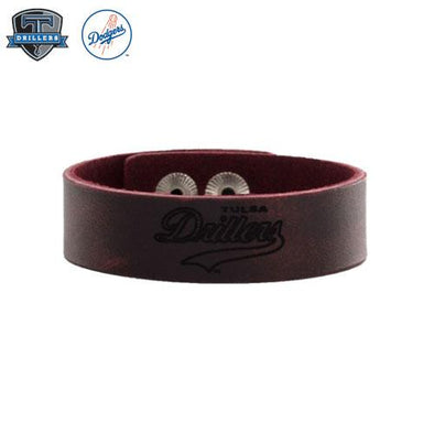 Tulsa Drillers Rustic Cuff Red Leather Snap Cuff Drillers Retro