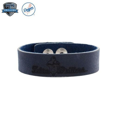 Tulsa Drillers Rustic Cuff Blue Leather Snap Cuff Primary
