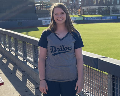 Tulsa Drillers Ladies V-Neck Raglan Tee Script