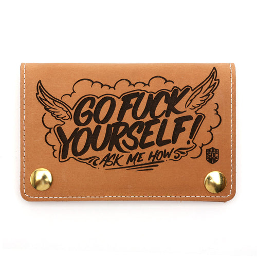 Mini Trucker GFY Leather Wallet Rust