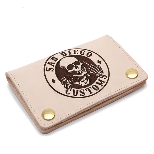 Mini Trucker Ripper Leather Wallet Natural