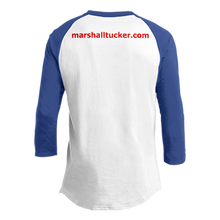 Load image into Gallery viewer, Blue and White Raglan